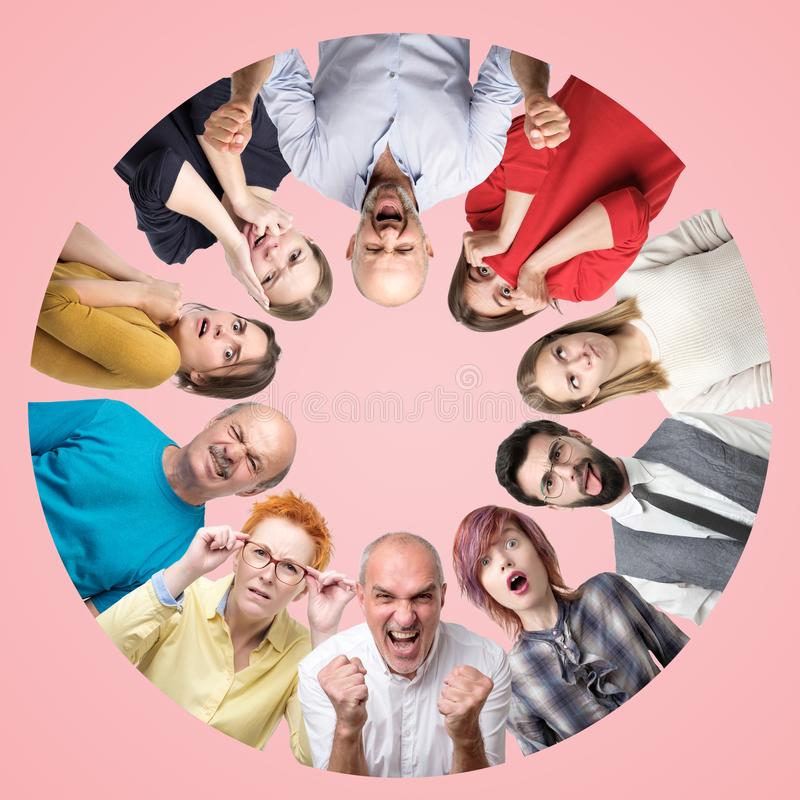 Circle collage of different men and women showing sad and negative emotions on pink background. stock image