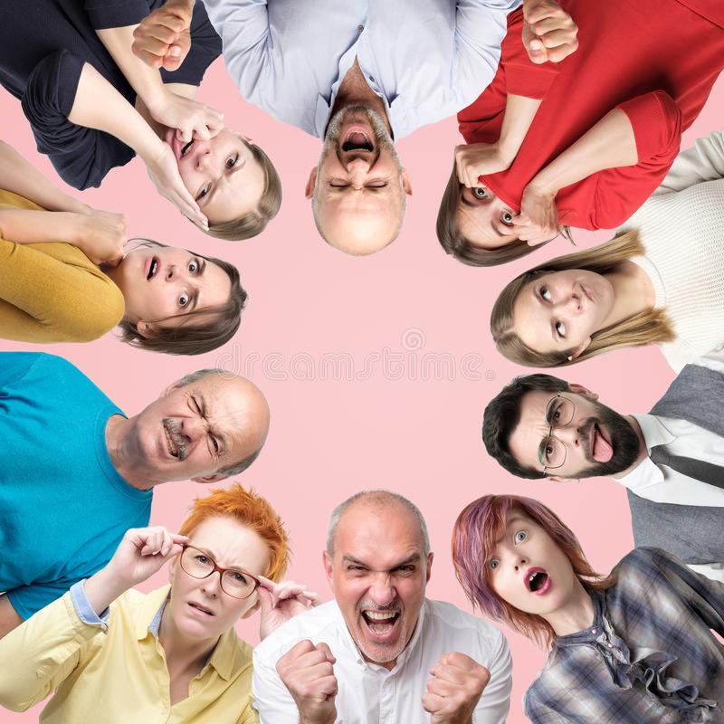 Circle collage of different men and women showing sad and negative emotions on pink background. stock photography