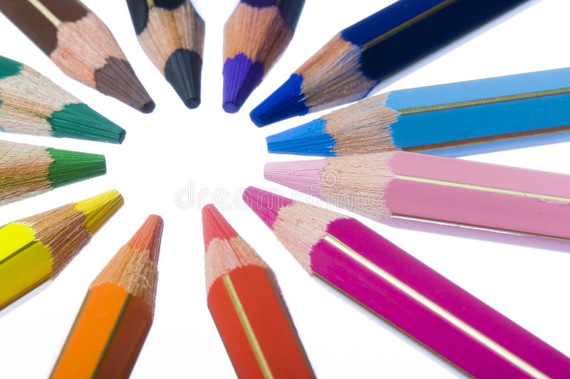 Download Circle of Colored Pencils stock image. Image of black - 26826675