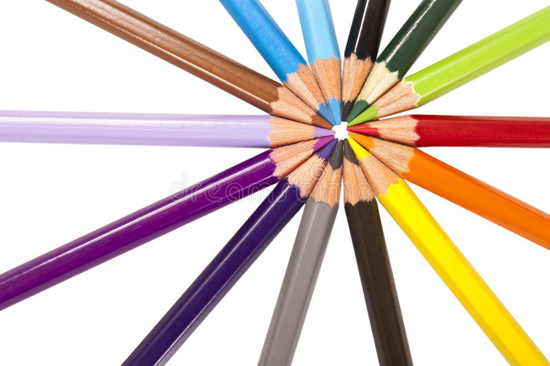 Circle of colored pencils stock images