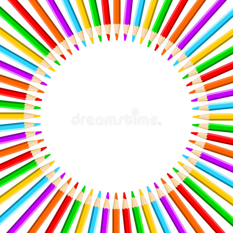 Crayon Colored Circle : Circle of colored pencils stock vector illustration