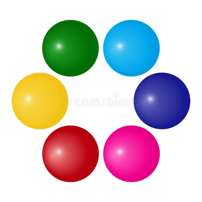 Circle with colorful ball, decorative frame for your text. Vector. Illustration royalty free illustration