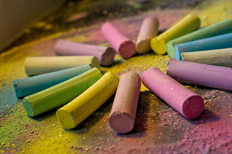 Circle from colorful chalk on colored background royalty free stock images
