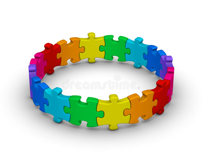 Download Circle Of Colorful Jigsaw Puzzles Stock Illustration - Illustration of partnership, leisure: 21716118