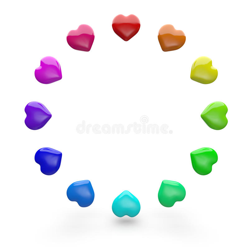 Circle of colorful love hearts stock image
