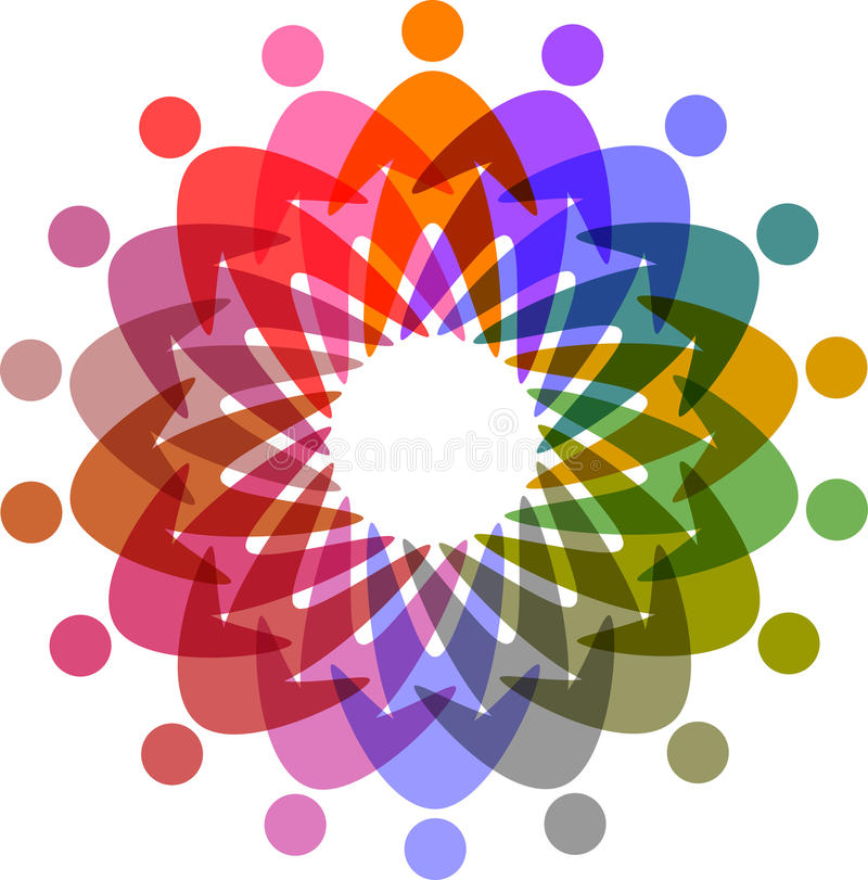 Circle of colorful people pictogram stock illustration