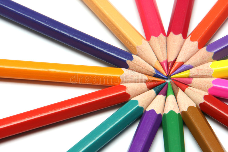 Download Circle of colour pencils stock image. Image of design - 4822213