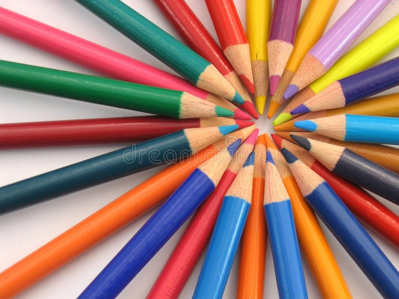 Circle of Colour Pencils royalty free stock image