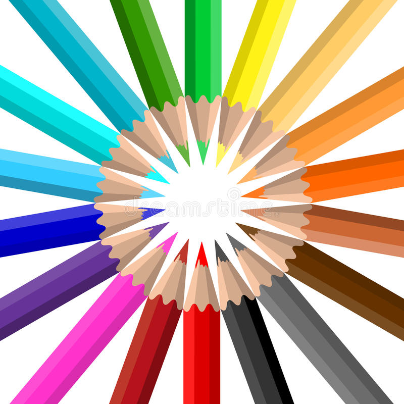 Circle of coloured pencils royalty free illustration
