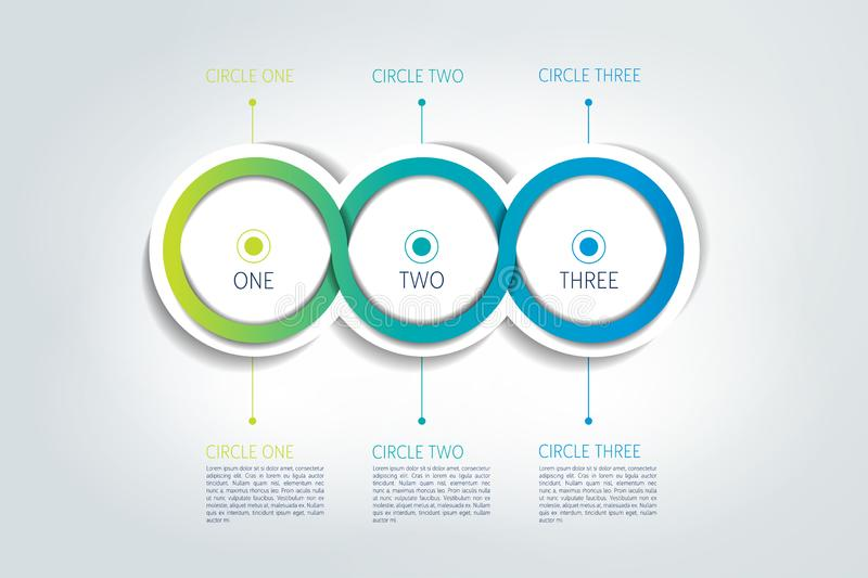 Circle connected 3D infographic. Four labels. Vector template vector illustration