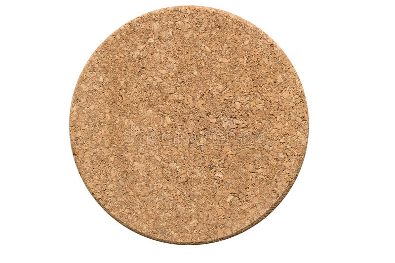 A circle cork board on white background stock photos