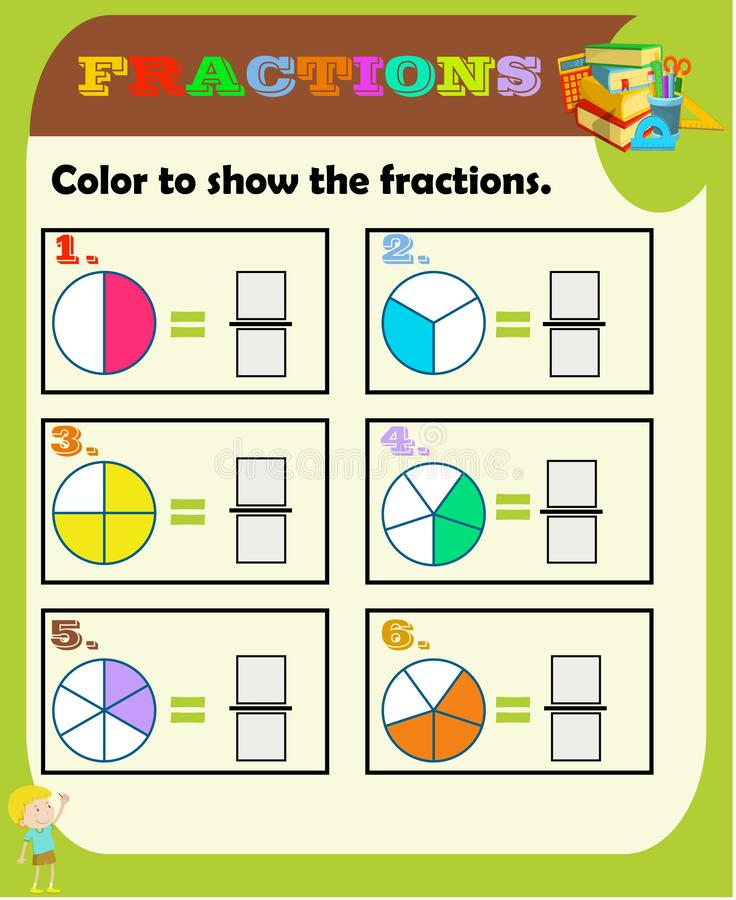 Circle The Correct Fraction, Mathematics, Math Worksheet For Kids.Fractions  Addition, Printable Fractions Worksheets For Kids , Fr Stock Vector -  Illustration Of Game, Circle: 145291518