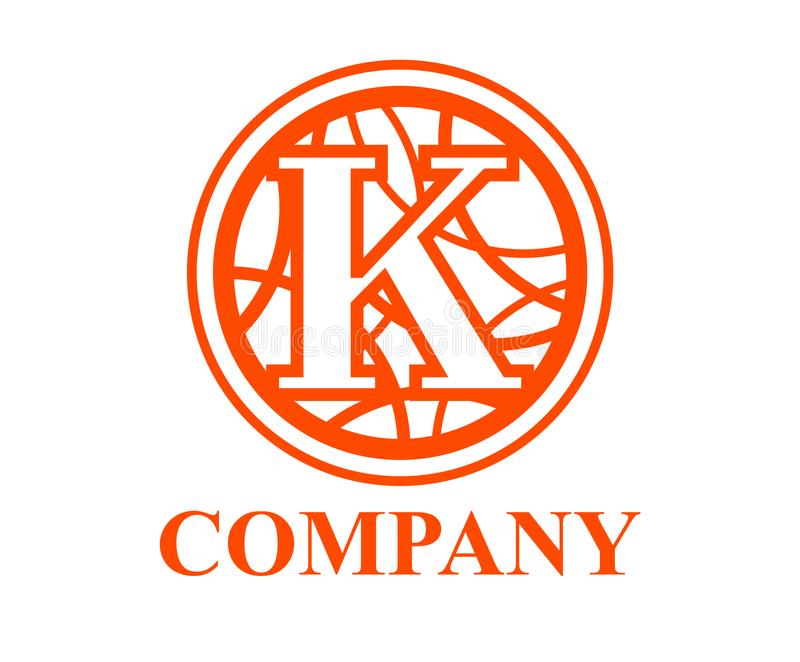 Circle curvy k. Orange color logo symbol type letter k initial business logo design idea illustration shape in circle with beautiful curvy oval line art for vector illustration