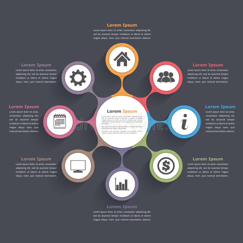 Circle Diagram Eight Elements. Circle diagram infographics with eight elements with icons and text, circle flow chart template, business infographics, flat royalty free illustration