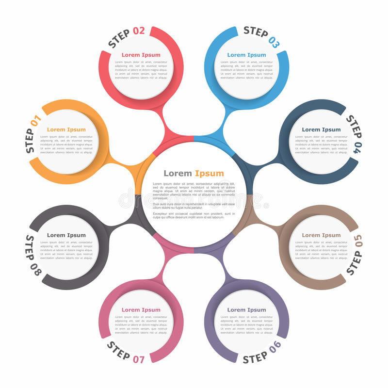 Circle Diagram Eight Elements. Circle diagram with eight elements, steps or options, flowchart or workflow diagram template vector illustration