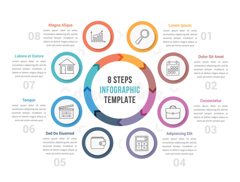 Circle Diagram with Eight Steps. Circle diagram infographic template with arrows with eight steps, workflow, process stock illustration