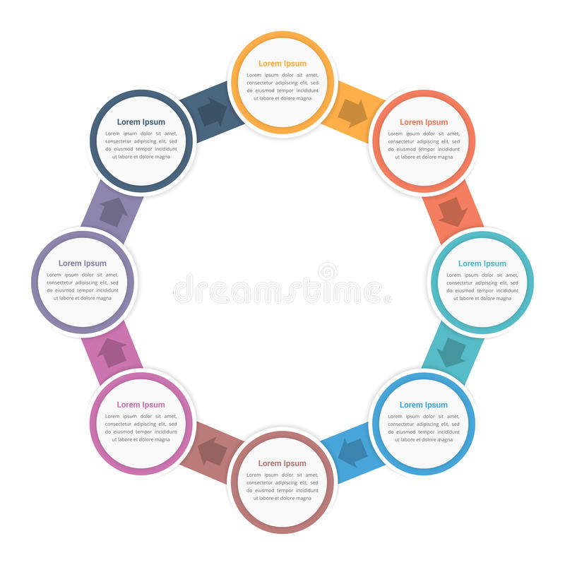 Circle Diagram with Eight Steps. Circle diagram infographic template with eight steps or options, workflow, process stock illustration