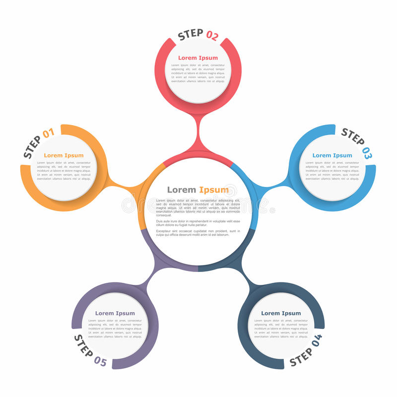 Circle Diagram Five Elements. Circle diagram with five elements, steps or options, flowchart or workflow diagram template vector illustration