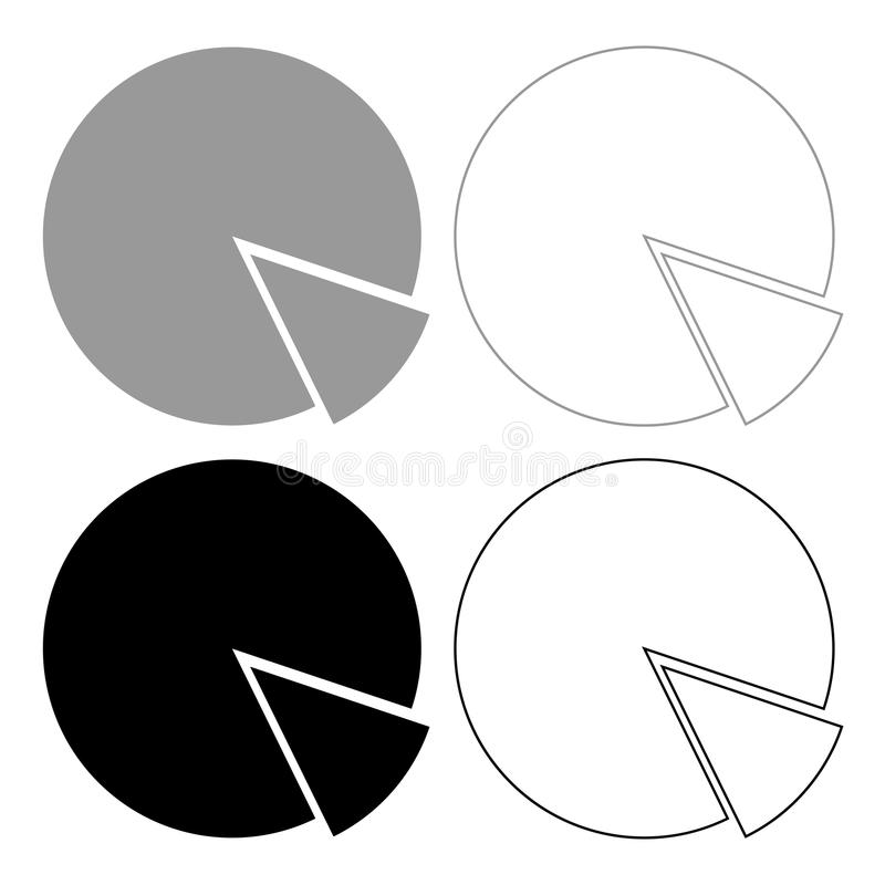 Circle diagram icon . Illustration grey and black color . vector illustration