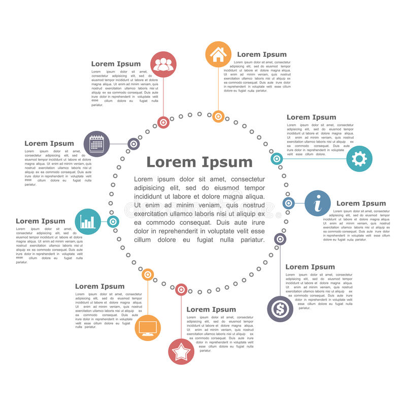 Circle Diagram. With icons and text stock illustration