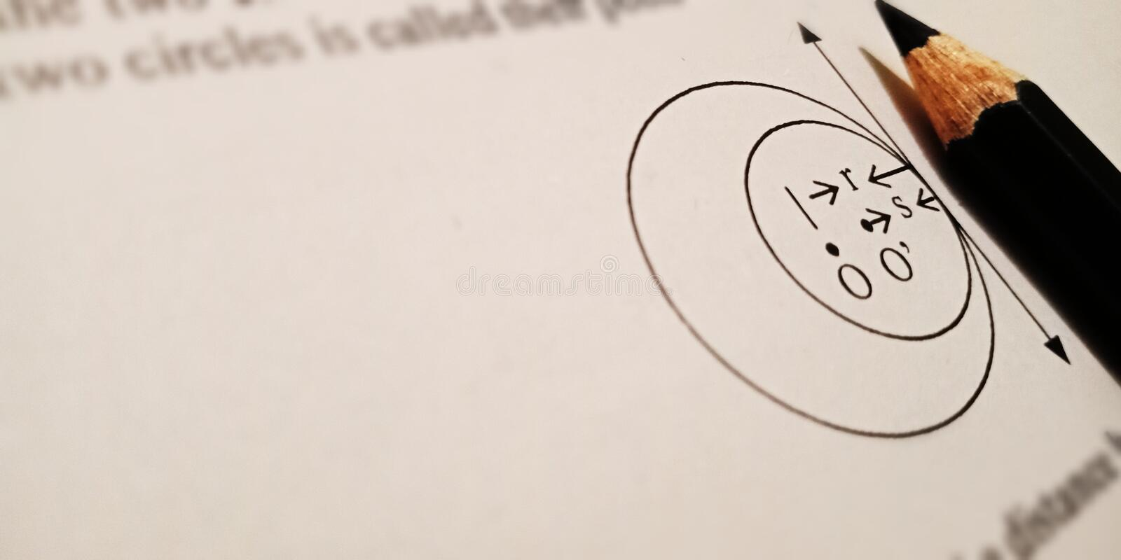 circle diagram mathematical solution on white paper sheet with black pencil royalty free stock photography