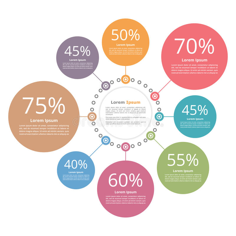 Circle Diagram. With percents infographic template royalty free illustration