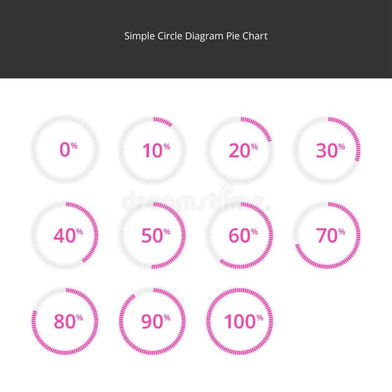 Circle Diagram Pie Charts Infographics - Pink vector illustration