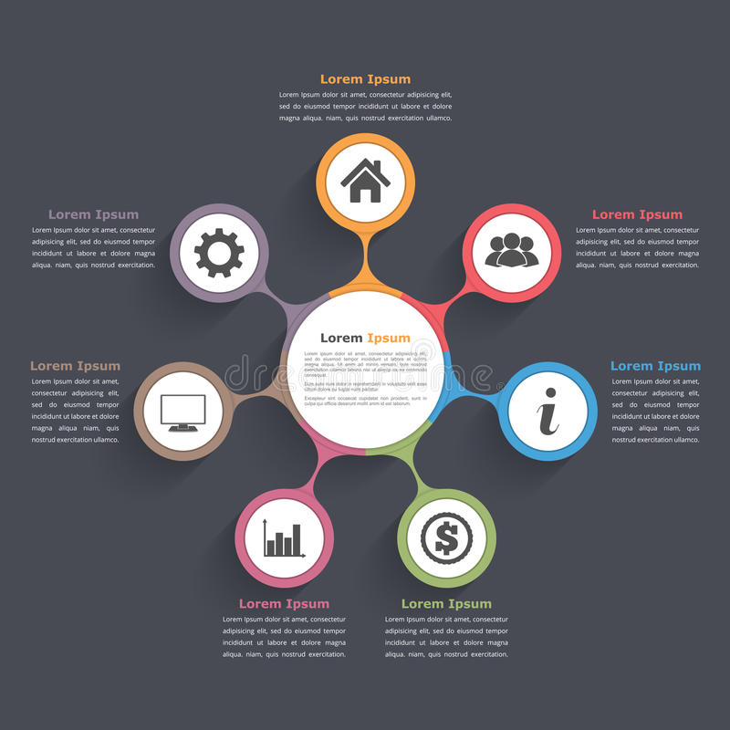 Circle Diagram Seven Elements. Circle diagram infographics with seven elements with icons and text vector illustration