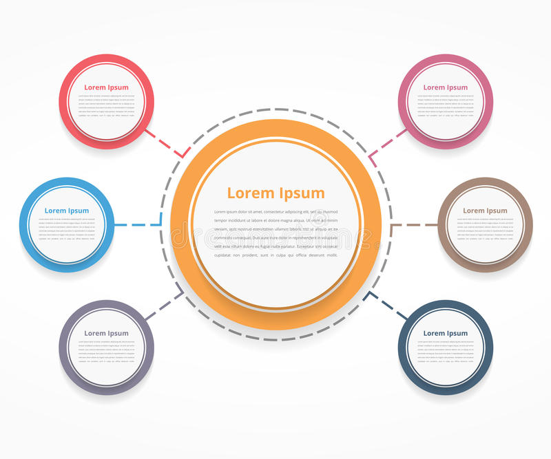 Circle Diagram with Six Elements. Steps or options, flowchart or workflow diagram template vector illustration