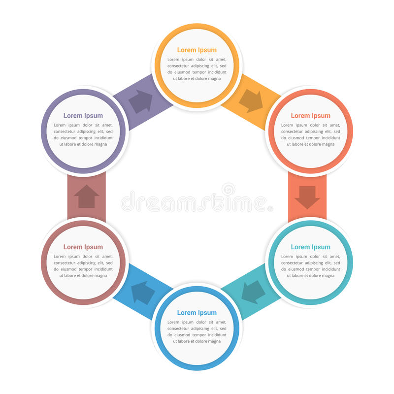 Circle Diagram with Six Steps. Circle diagram infographic template with six steps or options, workflow, process royalty free illustration