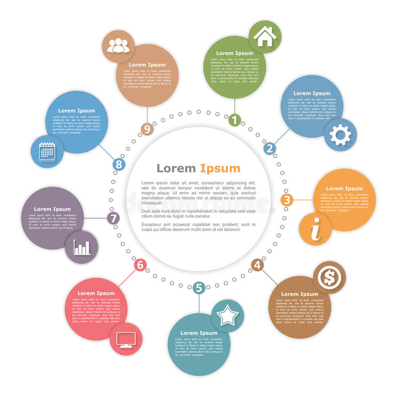 Circle Diagram Template. With place for your text and icons royalty free illustration
