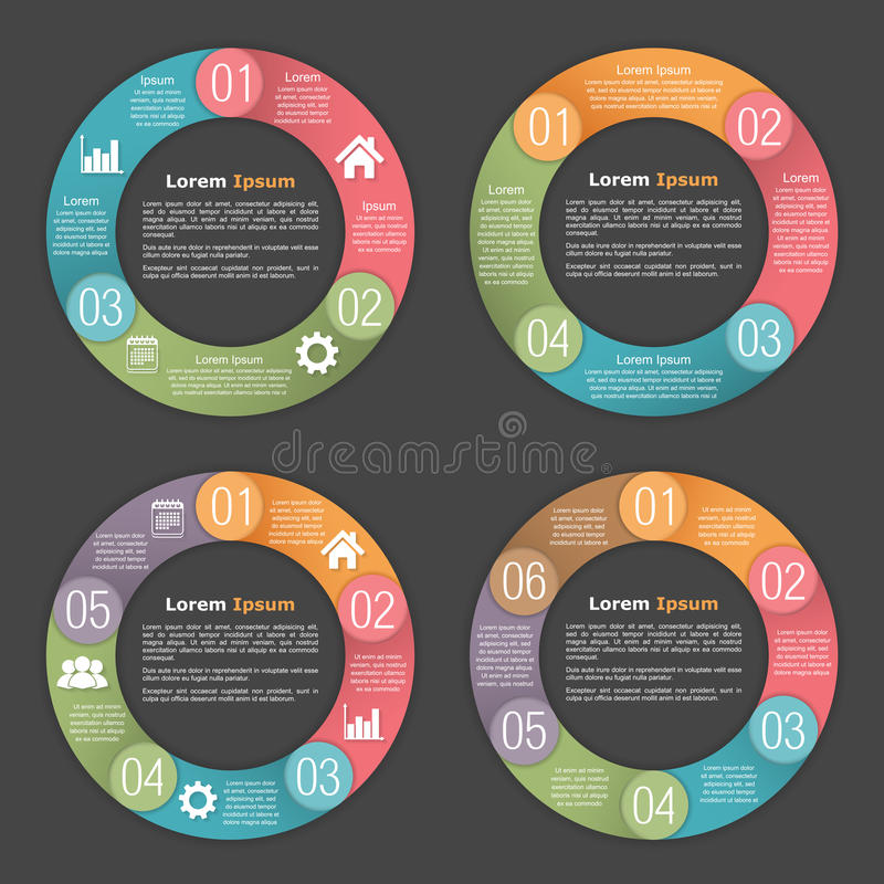 Circle Diagram Templates. Circle diagram template with three, four, five and six steps or options vector illustration