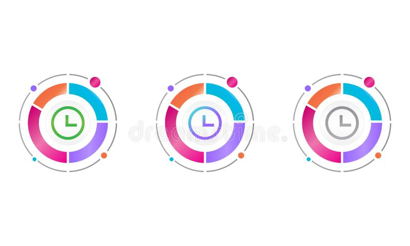 Circle diagram with time icon . vector icon concept stock illustration
