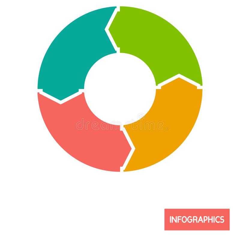 Circle diagramm infographic element color flat icon. For web and mobile design stock illustration