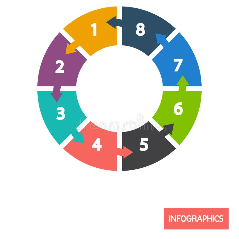Circle diagramm infographic element color flat icon. For web and mobile design vector illustration