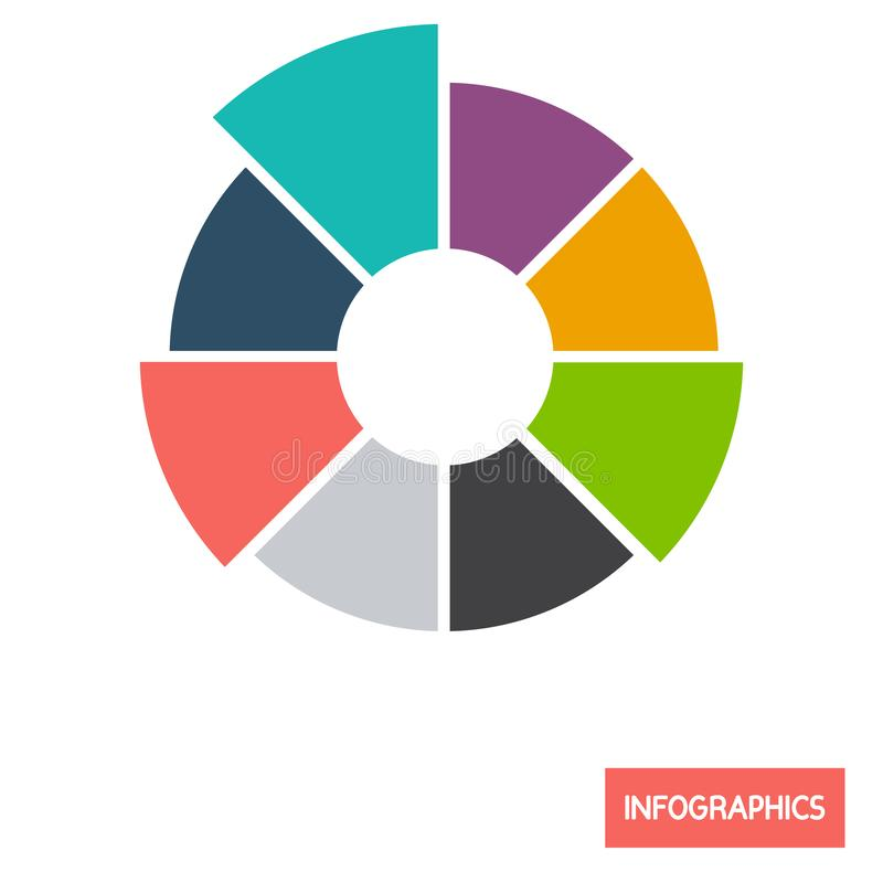 Circle diagramm infographic element color flat icon. For web and mobile design royalty free illustration