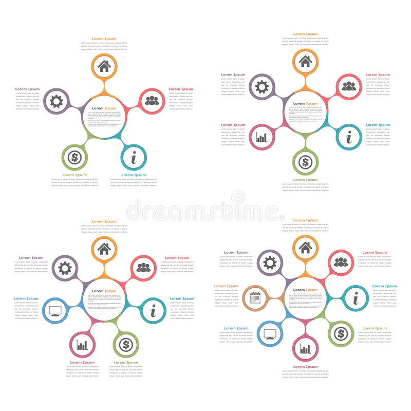 Circle Diagrams Set. Circle diagrams with five, six, seven and eight elements, flow chart, business infographics royalty free illustration