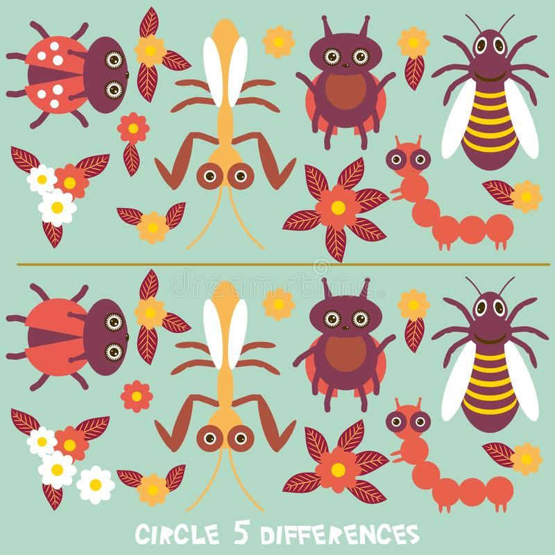 Circle differences Educational Game for Preschool Children Picture puzzle: Find the five differences between the two pictures Funn stock illustration