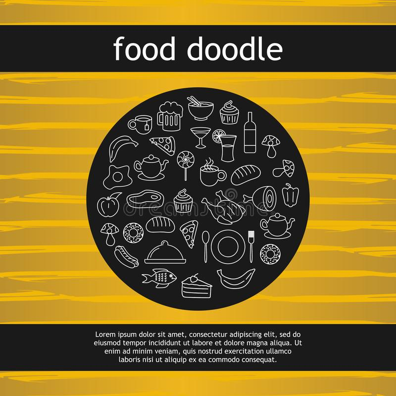 Circle doodle of food and beverage drawing vector illustration background stock illustration