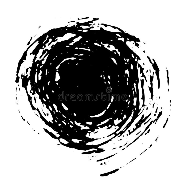 Circle dry brush vector stroke grunge texture royalty free illustration