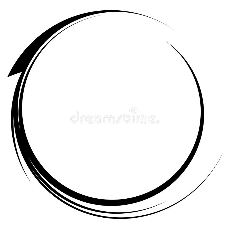 Circle with dynamic swoosh line frame. Monochrome circular element. Royalty free vector illustration royalty free illustration