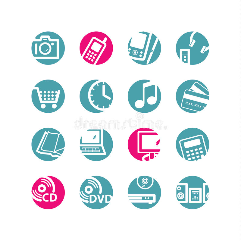 Circle e-shop icons. Blue and pink
