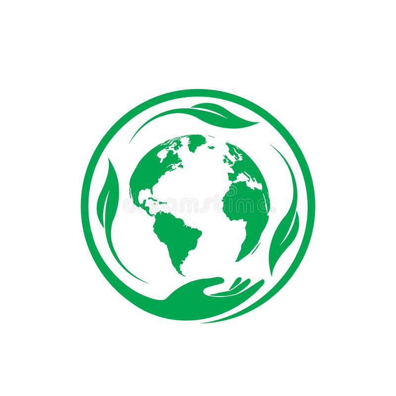 Circle earth day. Circle hand and earth leaf green royalty free illustration