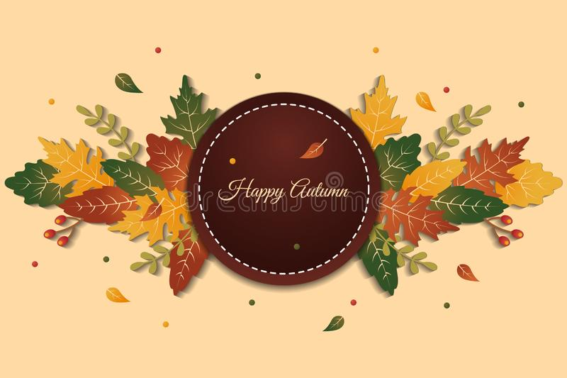 Circle of elegant happy autumn greeting background with colorful leaves royalty free stock images