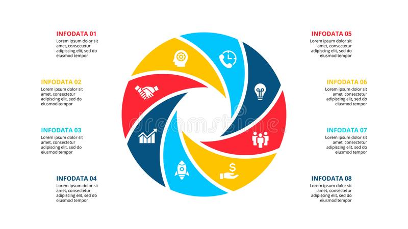 Circle element for infographic with 8 options, parts or steps. Template for cycle diagram, graph and round chart stock illustration