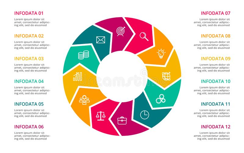 Circle elements of graph, diagram with 12 steps, options, parts or processes. Template for infographic, presentation. royalty free illustration