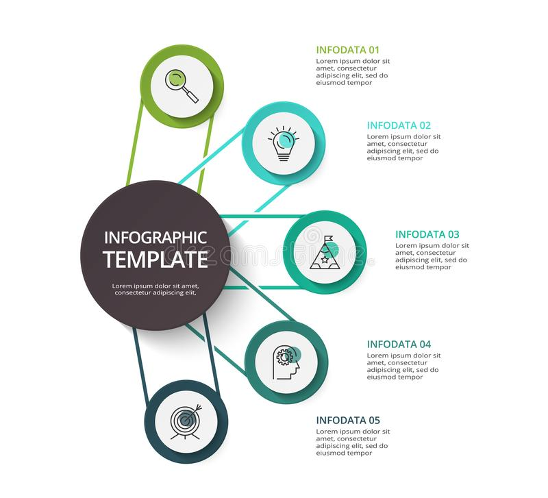 Circle elements of graph, diagram with 5 steps, options, parts or processes. Template for infographic, presentation. Infographic design vector royalty free illustration