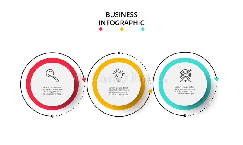 Circle elements of graph, diagram with 3 steps, options, parts or processes. Template for infographic, presentation. Infographic design vector vector illustration