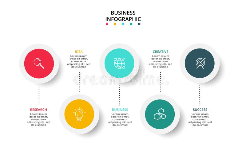 Circle elements of graph, diagram with 5 steps, options, parts or processes. Template for infographic, presentation. Business data visualization. Process chart royalty free illustration