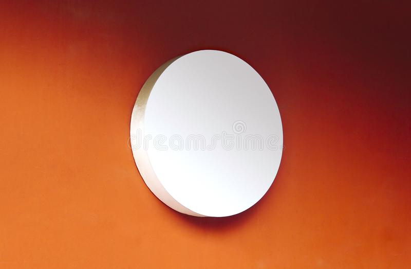 Circle empty signboard on orange background stock photo